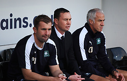 Plymouth Argyle Manager Derek Adams (C) - Mandatory byline: Jack Phillips / JMP - 07966386802 - 11/10/2015 - FOOTBALL - Meadow Lane - Nottingham, Nottinghamshire - Notts County v Plymouth Argyle - Sky Bet Championship