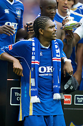 LONDON, ENGLAND - Saturday, May 17, 2008: Portsmouth's match-winner Nwankwo Kanu celebrates after his side beat Cardiff City 1-0 during the FA Cup Final at Wembley Stadium. (Photo by David Rawcliffe/Propaganda)