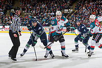 KELOWNA, CANADA - APRIL 26: Tomas Soustal #15 of the Kelowna Rockets wins the face off against Alexander True #16 of the Seattle Thunderbirds during first period on April 26, 2017 at Prospera Place in Kelowna, British Columbia, Canada.  (Photo by Marissa Baecker/Shoot the Breeze)  *** Local Caption ***