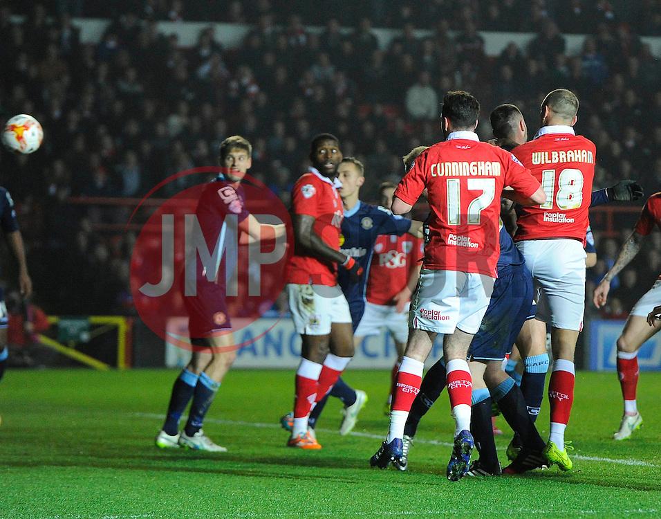 Bristol City's Aaron Wilbraham heads towards goal  - Photo mandatory by-line: Joe Meredith/JMP - Mobile: 07966 386802 - 17/03/2015 - SPORT - Football - Bristol - Ashton Gate - Bristol City v Crewe Alexandra - Sky Bet League One