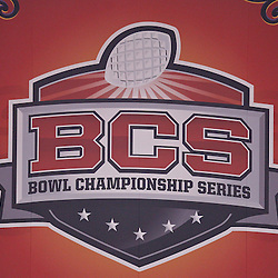January 4, 2011; New Orleans, LA, USA;  A BCS banner displayed at the 2011 Sugar Bowl between the Ohio State Buckeyes and the Arkansas Razorbacks at the Louisiana Superdome.  Mandatory Credit: Derick E. Hingle