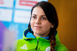 Gloria Kotnik during Arrival of Zan Kosir, Bronze medalist at Olympic Games in Pyeongchang 2018, on February 26, 2018 in Aerodrom Ljubljana, Letalisce Jozeta Pucnika, Kranj, Slovenia. Photo by Ziga Zupan / Sportida
