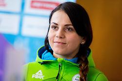 Gloria Kotnik during Arrival of Zan Kosir, Bronze medalist at Olympic Games in Pyeongchang 2018, on February 26, 2018 in Aerodrom Ljubljana, Letalisce Jozeta Pucnika, Kranj, Slovenia. Photo by Ziga Zupan / Sportida