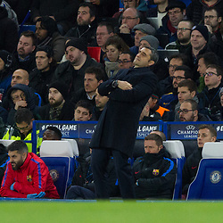 Barcelona Manager Ernesto Valverde reacts to a missed chance during the Champions League match between Chelsea and Brcelona at Stamford Bridge, London on Tuesday 20th February 2018.  (C) Steven Morris | SportPix.org.uk
