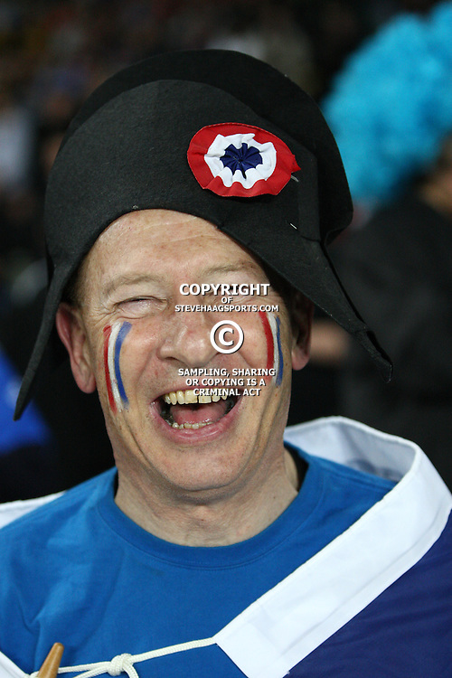 AUCKLAND, NEW ZEALAND - OCTOBER 15, A happy French fan during the 2011 IRB Rugby World Cup Semi Final match between Wales and France at Eden Park on October 15, 2011 in Auckland, New Zealand<br /> Photo by Steve Haag / Gallo Images
