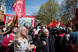 © Licensed to London News Pictures. 01/05/2016. London, UK. Protestors gather for the opening rally at a May Day demonstration in central London. Thousands gathered on Clerkenwell Green to mark May Day. Photo credit : Rob Pinney/LNP