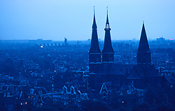 city,amsterdam,europe,chruch,spire,town,aerial,yellow,early,trees,landscape