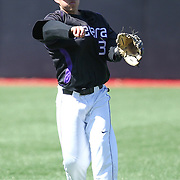 Geoff Seto #3 of the Niagara Purple Eagles throws the ball during the game at Friedman Diamond on March 16, 2014 in Brookline, Massachusetts. (Photo by Elan Kawesch)