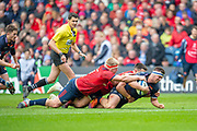 Stuart McInally (#2) of Edinburgh Rugby dives for the try line during the Heineken Champions Cup quarter-final match between Edinburgh Rugby and Munster Rugby at BT Murrayfield Stadium, Edinburgh, Scotland on 30 March 2019.