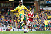 Norwich City midfielder Josh Murphy (11) with a back heel  during the EFL Sky Bet Championship match between Norwich City and Bristol City at Carrow Road, Norwich, England on 23 September 2017. Photo by Simon Davies.