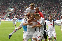 27.04.2013, SGL Arena, Augsburg, GER, 1. FBL, FC Augsburg vs VfB Stuttgart, 31. Runde, im Bild Torjubel von links Andre HAHN #28 (FC Augsburg), Tobias WERNER #13 (FC Augsburg), Marcel DE JONG #17 (FC Augsburg), Mohamed AMSIF #30 (FC Augsburg), Daniel BAIER #10 (FC Augsburg) und Matthias OSTRZOLEK #19 (FC Augsburg) // during the German Bundesliga 31 th round match between FC Augsburg and VfB Stuttgart at the SGL Arena, Augsburg, Germany on 2013/04/27. EXPA Pictures © 2013, PhotoCredit: EXPA/ Eibner/ Kolbert..***** ATTENTION - OUT OF GER *****