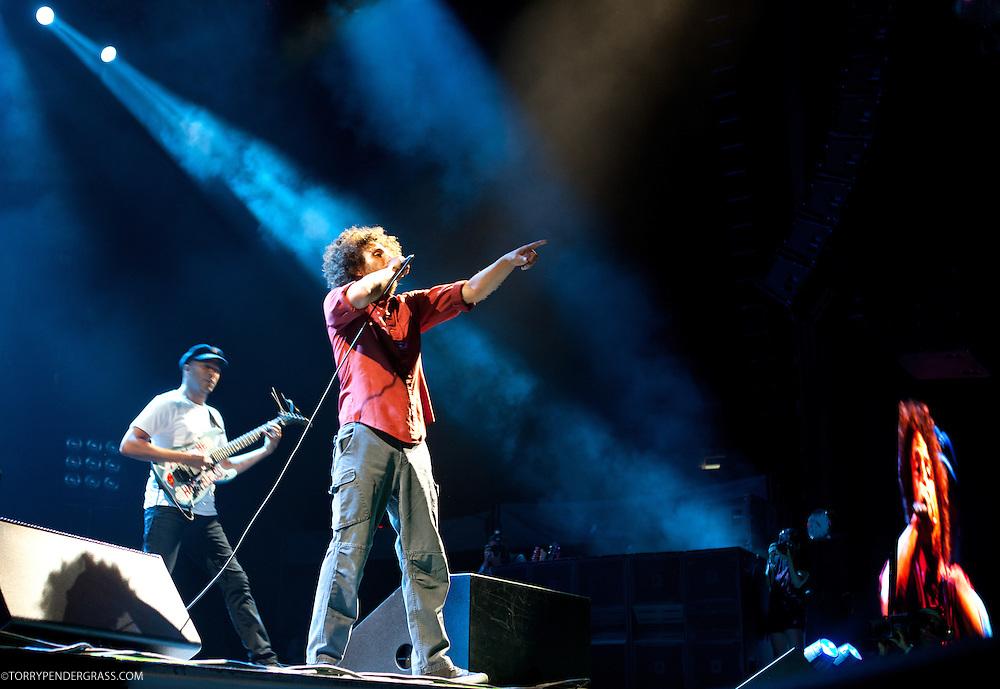 Zack de La Rocha and Tom Morello  of Rage Against the Machine performs the L.A. Rising Festival at L.A. Coliseum July 30, 2011