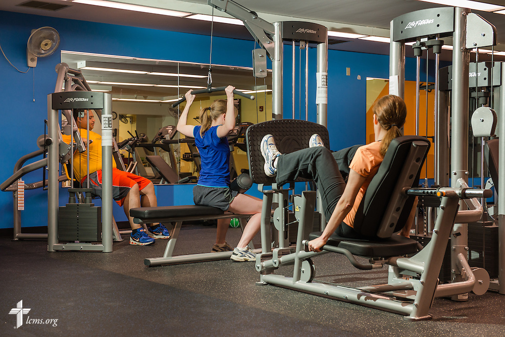 The fitness center at the International Center of The Lutheran Church--Missouri Synod, on Wednesday, April 9, 2014, in Kirkwood, Mo. THIS PHOTOGRAPH HAS BEEN STAGED AND/OR ALTERED AND SHOULD NOT BE USED IN AN EDITORIAL PUBLICATION. LCMS Communications/Erik M. Lunsford