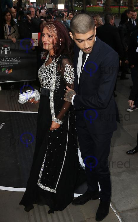 Trisha Malik, Zayn Malik, The Asian Awards, Grosvenor House Hotel, London UK, 17 April 2015, Photo by Richard Goldschmidt