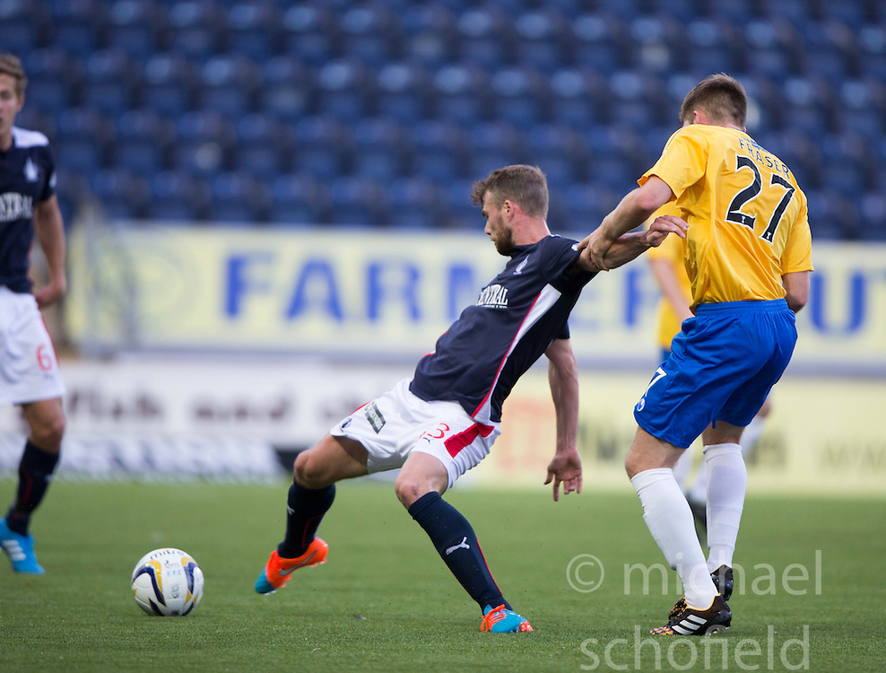Falkirk's Rory Loy held by Cowdenbeath's Marcus Fraser.<br /> Falkirk 6 v 0 Cowdenbeath, Scottish Championship game played at The Falkirk Stadium, 25/10/2014.
