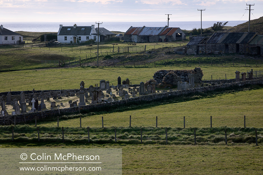 A burial ground on the west side of the the Inner Hebridean island of Colonsay on Scotland's west coast.  The island is in the council area of Argyll and Bute and has an area of 4,074 hectares (15.7 sq mi). Aligned on a south-west to north-east axis, it measures 8 miles (13 km) in length and reaches 3 miles (4.8 km) at its widest point, in 2019 it had a permanent population of 136 adults and children.
