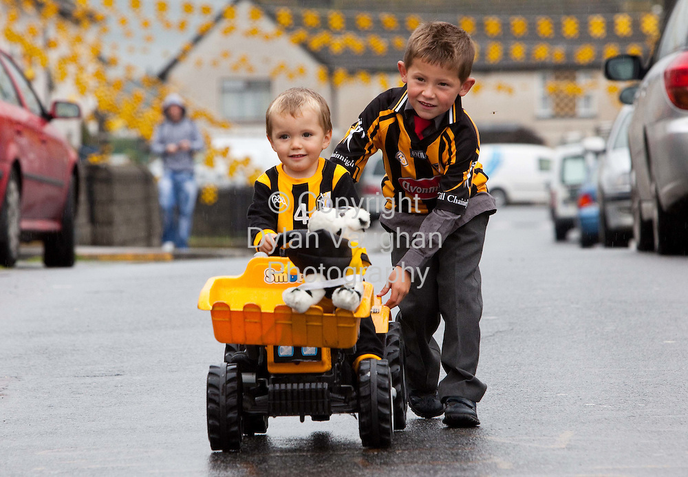 3/9/2009.Josh Quirke Duggan aged 3 and Kyle Maher aged 5 pictured showing support for the Kilkenny team on Pearse Street in Kilkenny..Picture Dylan Vaughan.