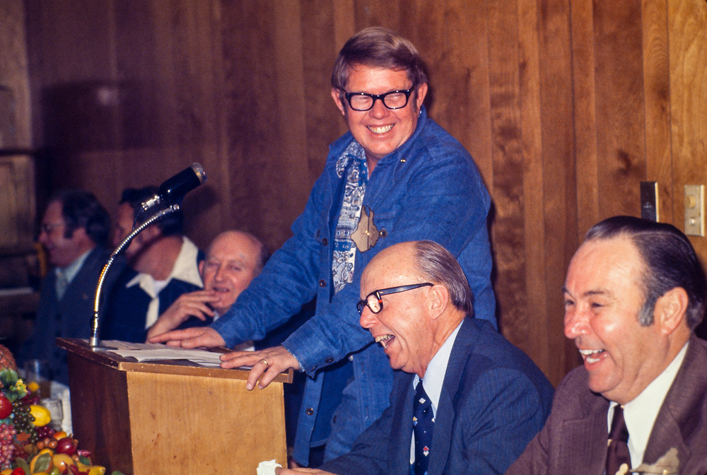 """Billy Carter speaks at a civic club meeting in Ahoskie, North Carolina. William Alton - Billy - Carter (March 29, 1937 – September 25, 1988) was an American farmer, businessman, brewer, and politician, and the younger brother of U.S. President Jimmy Carter. Carter promoted Billy Beer and was a candidate for mayor of Plains, Georgia. Carter was born in Plains, Georgia, to James Earl Carter Sr. and Lillian Gordy Carter. He was named after his paternal grandfather and great-grandfather, William Carter Sr. and William Archibald Carter Jr. respectively. He attended Emory University in Atlanta but did not complete a degree. He served four years in the United States Marine Corps, then returned to Plains to work with his brother in the family business of growing peanuts. In 1955, at the age of 18, he married Sybil Spires (b. 1939), also of Plains. They were the parents of six children: Kim, Jana, William """"Buddy"""" Carter IV, Marle, Mandy, and Earl, who was 12 years old when his father died."""