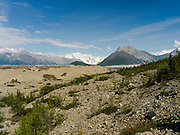 Photograph of the Kennicott Glacier in Wrangell-Saint Elias National Park, near McCarthy, Alaska.