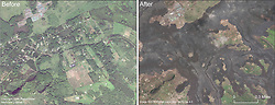 September 28, 2018 - Leilani Estates, Hawaii, U.S. - This comparison shows before and after images in the area of Lanipuna Gardens subdivision. Pohoiki Road runs left to right through the center of the image. The Puna Geothermal Ventures site is in the upper left portion of the image. For a map of the 2018 lower East Rift Zone eruption fissures and surrounding area. (Credit Image: © USGS via ZUMA Wire/ZUMAPRESS.com)