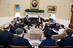 President Barack Obama holds a bilateral meeting with President Petro Poroshenko of Ukraine in the Oval Office, Sept. 18, 2014. (Official White House Photo by Pete Souza)<br /> <br /> This official White House photograph is being made available only for publication by news organizations and/or for personal use printing by the subject(s) of the photograph. The photograph may not be manipulated in any way and may not be used in commercial or political materials, advertisements, emails, products, promotions that in any way suggests approval or endorsement of the President, the First Family, or the White House.