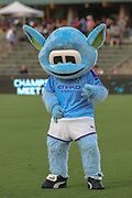 Manchester City mascot Manchester entertains the crowds prior to a game against the North Carolina Courage during an International Champions Cup women's soccer game, Thurday, Aug. 15, 2019, in Cary, NC. The North Carolina Courage defeated Manchester City Women 2-1.  (Brian Villanueva/Image of Sport)