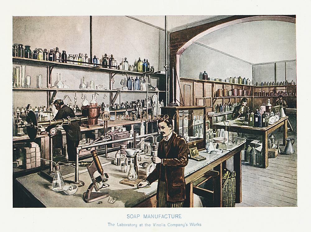 Vinolia Soap Company's London laboratory where raw materials and essential oils were tested.  Illustration c1905.