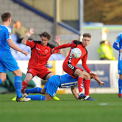 TELFORD COPYRIGHT MIKE SHERIDAN 22/12/2018 - James McQuilkin and Henry Cowans of AFC Telford battles for the ball during the Vanarama Conference North fixture between Chester FC and AFC Telford United at the Swansway Deva Stadium, Chester.