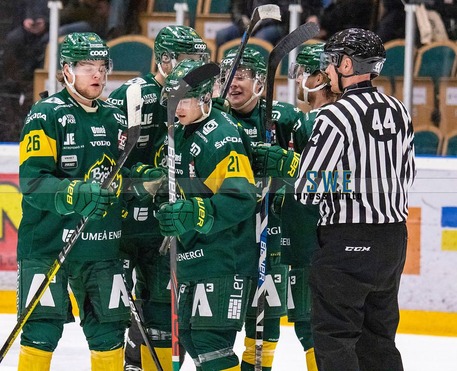 2019-12-02 | Umeå, Sweden:Björklöven (26) Oliver Larsen make the second goal 2-0 in HockeyAllsvenskan during the game  between Björklöven and Mora at A3 Arena ( Photo by: Michael Lundström | Swe Press Photo )<br /> <br /> Keywords: Umeå, Hockey, HockeyAllsvenskan, A3 Arena, Björklöven, Mora, mlbm191202, happy happiness celebration celebrates