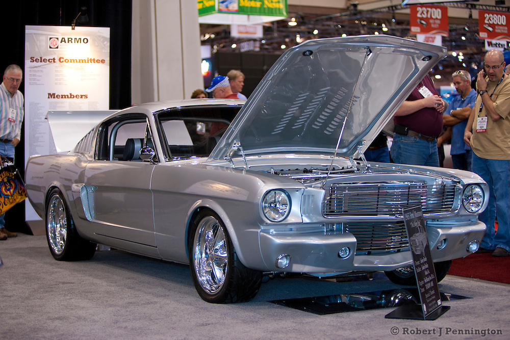 SEMA 2011 in Las Vegas Nevada, an automobile after market show. 1965 Ford Mustang, Silver Fox.
