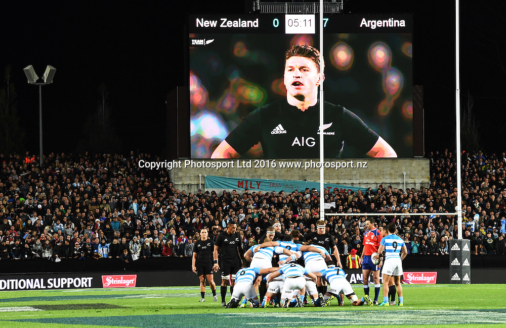 Monsta Vision big screen and scoreboard.<br /> New Zealand All Blacks v Argentina Pumas. Test match rugby union. The Rugby Championship. FMG Stadium, Hamilton, New Zealand. Saturday 10 September 2016. &copy; Copyright Photo: Andrew Cornaga / www.Photosport.nz