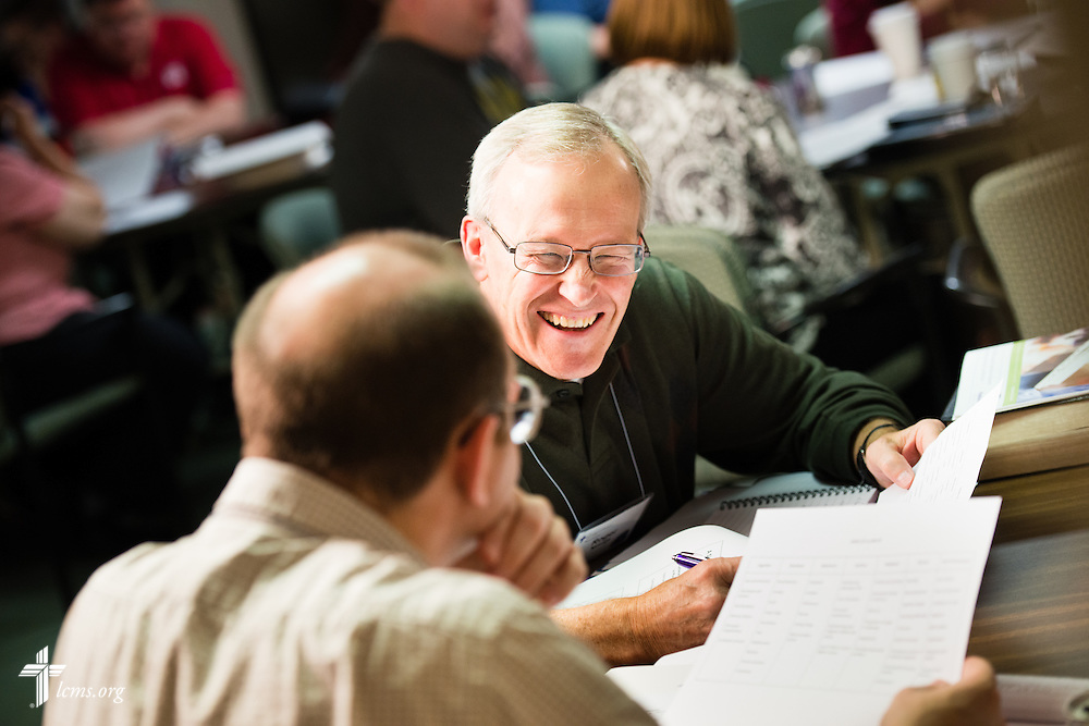 Chaplains engage in discussion on Wednesday, Oct. 29, 2014, at the LCMS Specialized Pastoral Ministry Educational Event and Retreat at the Mercy Conference and Retreat Center in Frontenac, Mo. LCMS Communications/Erik M. Lunsford