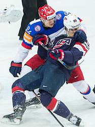 Andrei Mironov of Russia vs Anders Lee of USA vs Anders Lee of USA during Ice Hockey match between USA and Russia at Semifinals of 2015 IIHF World Championship, on May 16, 2015 in O2 Arena, Prague, Czech Republic. Photo by Vid Ponikvar / Sportida