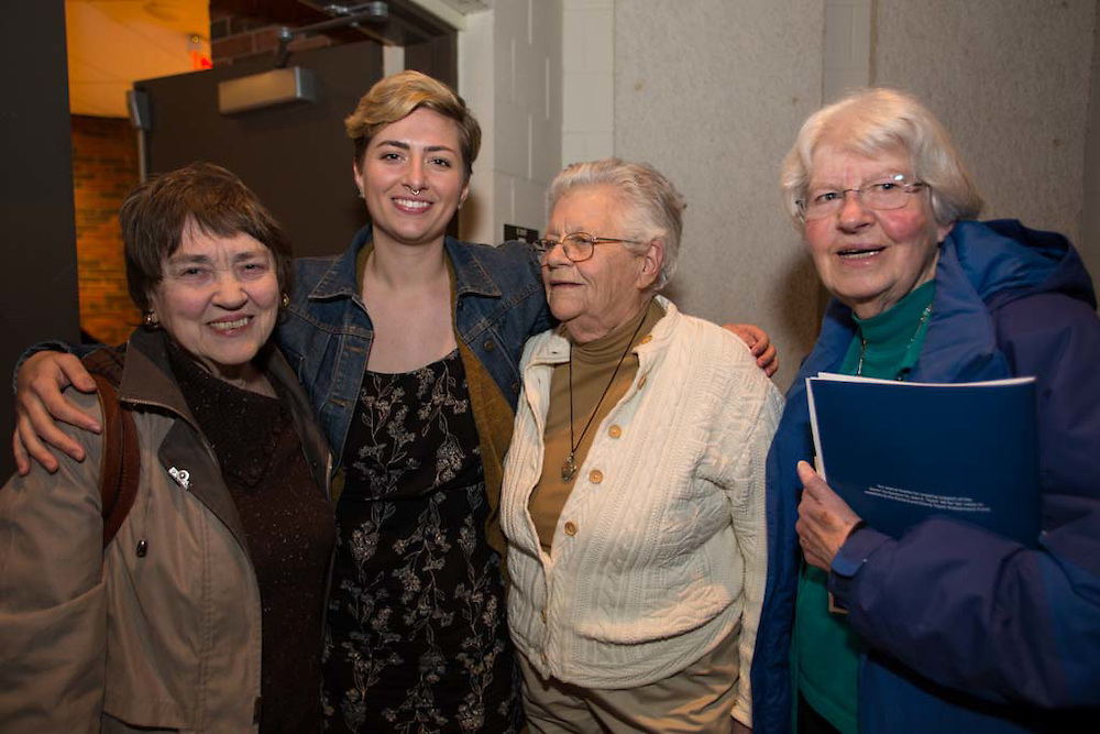 Mia Mazzaferro, recipient of the Alice Bliss Studebaker '59 Internship Fund, with supporters of the scholarship at the Mount Holyoke College Senior Symposium, 4/8/16.