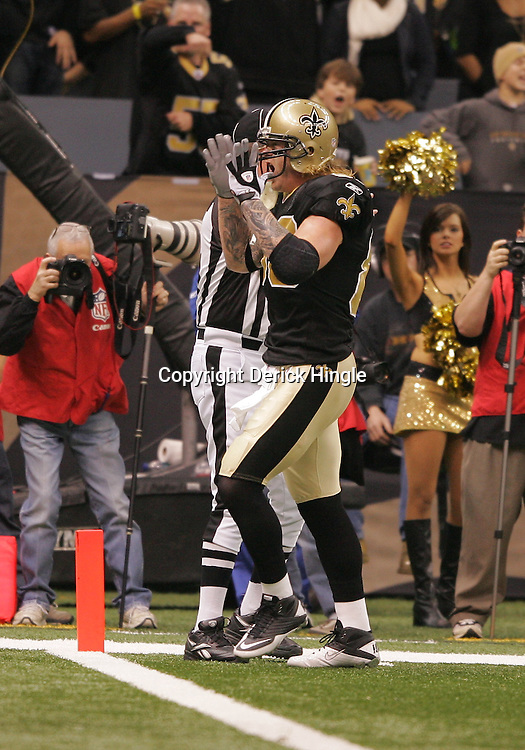 16 January 2010:  New Orleans Saints tight end Jeremy Shockey (88) reacts after a catch during a 45-14 win by the New Orleans Saints over the Arizona Cardinals in a 2010 NFC Divisional Playoff game at the Louisiana Superdome in New Orleans, Louisiana.