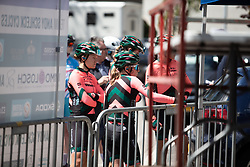 Parkhotel Valkenburg Cycling Team riders wait to sign on before Stage 2 of 2019 Festival Elsy Jacobs, a 111.1 km road race starting and finishing in Garnich, Luxembourg on May 12, 2019. Photo by Balint Hamvas/velofocus.com