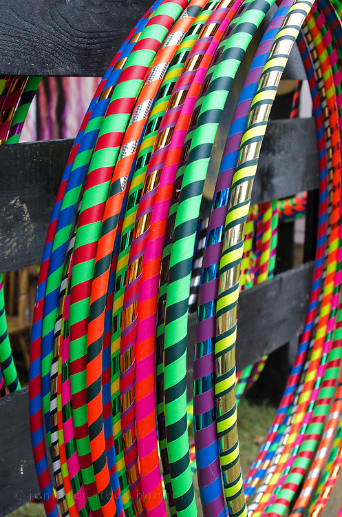 Hula hoops hanging on a booth at the Common Ground Fair, Unity, Maine
