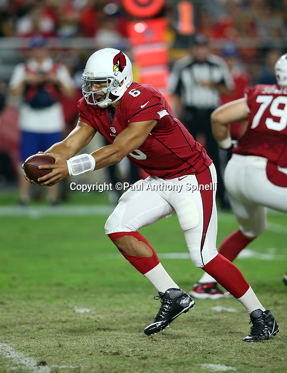 Arizona Cardinals quarterback Logan Thomas (6) hands off the ball on a running play during the 2015 NFL preseason football game against the Kansas City Chiefs on Saturday, Aug. 15, 2015 in Glendale, Ariz. The Chiefs won the game 34-19. (©Paul Anthony Spinelli)