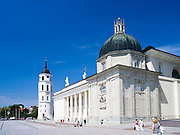 View of the Vilnius Cathedral/Katedra and Clocktower from the SE, in the main plaza; Vilnius, Lithuania