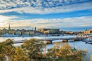 Vy från Skeppsholmen mot Gamla stan Stockholm