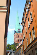 Spire of the Dome Cathedral viewed<br /> from a side street in Riga, Latvia<br /> c. Ellen Rooney