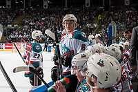 KELOWNA, CANADA - APRIL 30: Kaeden Korszak #6 of the Kelowna Rockets stands on the bench against the Seattle Thunderbirds on April 30, 2017 at Prospera Place in Kelowna, British Columbia, Canada.  (Photo by Marissa Baecker/Shoot the Breeze)  *** Local Caption ***