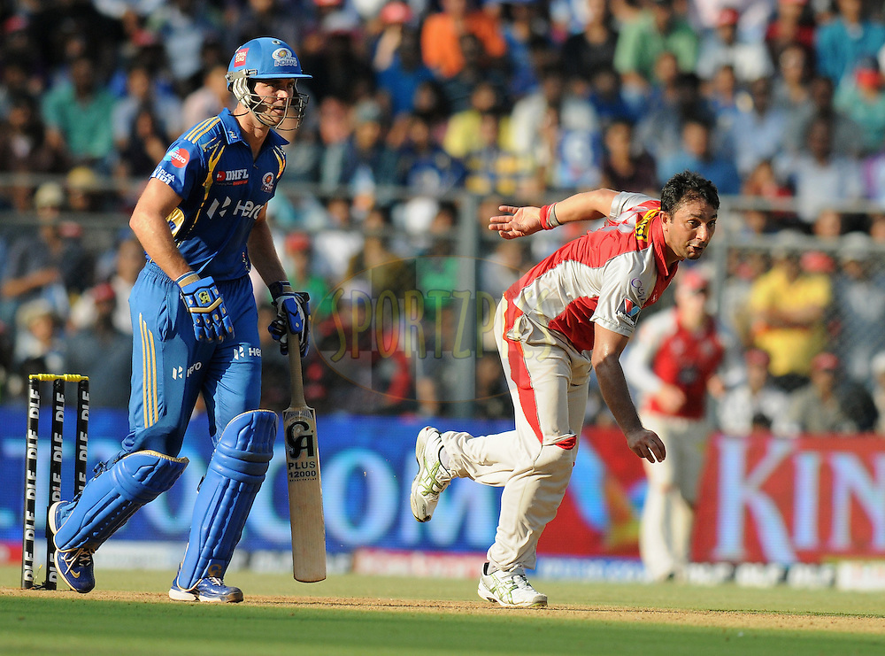 Azhar Mahmood of Kings XI Punjab bowls during match 28 of the Indian Premier League ( IPL) 2012  between The Mumbai Indians and the Kings X1 Punjab held at the Wankhede Stadium in Mumbai on the 22nd April 2012..Photo by Pal Pillai/IPL/SPORTZPICS.