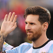 EAST RUTHERFORD, NEW JERSEY - JUNE 26: Lionel Messi #10 of Argentina during team presentations before   the Argentina Vs Chile Final match of the Copa America Centenario USA 2016 Tournament at MetLife Stadium on June 26, 2016 in East Rutherford, New Jersey. (Photo by Tim Clayton/Corbis via Getty Images)