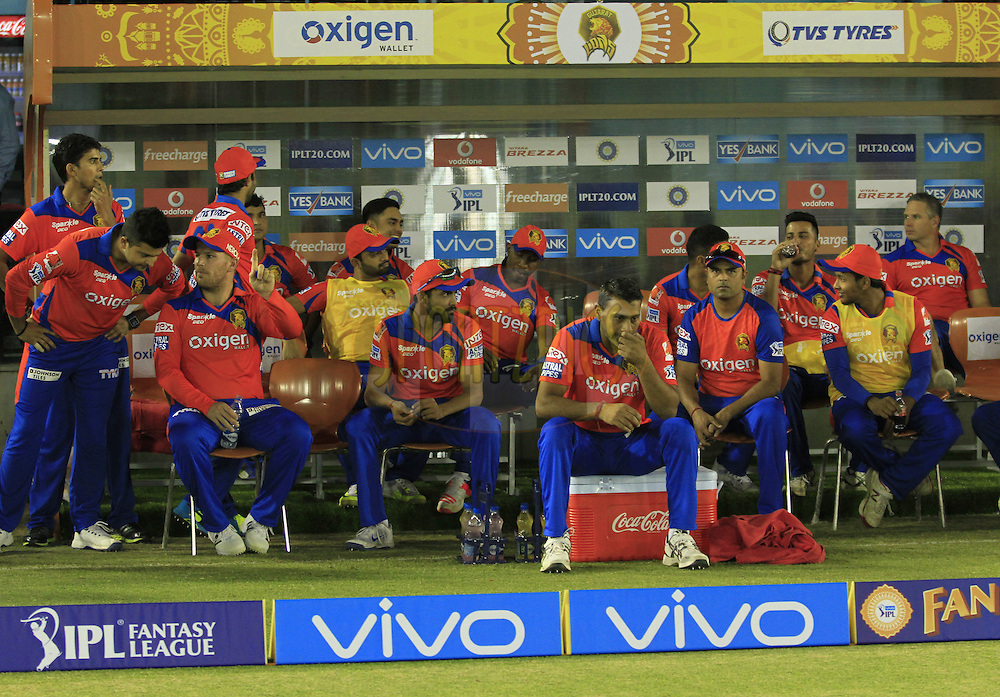 Gujarat Lions h players in dugout during match 3 of the Vivo Indian Premier League ( IPL ) 2016 between the Kings XI Punjab and the Gujarat Lions held at the IS Bindra Stadium, Mohali, India on the 11th April 2016<br /> <br /> Photo by Arjun Singh/ IPL/ SPORTZPICS