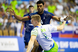 Kristjan Horzen of Slovenia during handball match between National teams of France and Slovenia in Final of 2018 EHF U20 Men's European Championship, on July 29, 2018 in Arena Zlatorog, Celje, Slovenia. Photo by Urban Urbanc / Sportida