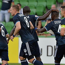 Leroy George of Melbourne Victory FC celebrates  equalising to 1:1 in the  AFC Champions League, 13 February 2018, Group F, Melbourne Victory FC v Ulsan Hyundai at Melbourne Rectangular Stadium (Aami Park), Australia |© Mark Avellino | SportPix.org.uk