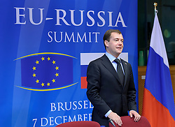 "Dmitry Medvedev, Russia's president, arrives for the EU-Russia summit at the European Union council headquarters in Brussels, Belgium, on Tuesday, Dec. 7, 2010. Russia will move a step closer to membership in the World Trade Organisation today when it signs an agreement with the European Union settling ""key questions"" that have hampered its accession bid for years. (Photo © Jock Fistick)"