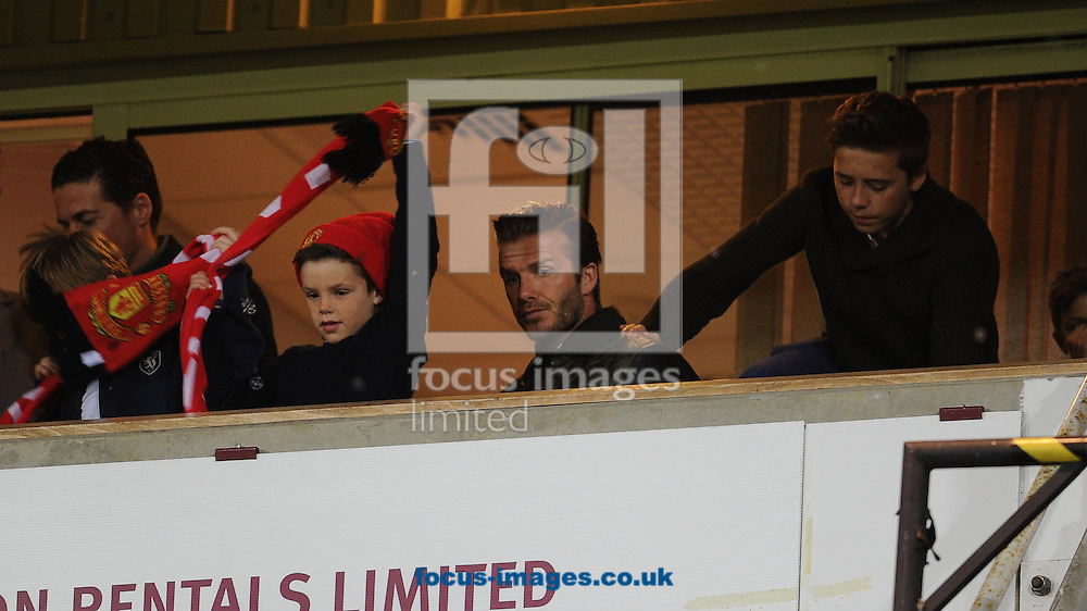 Picture by Andrew Timms/Focus Images Ltd +44 7917 236526.05/01/2013.David Beckham with his sons Romeo, Brooklyn & Cruz watching the West Ham United v Manchester United The FA Cup match at the Boleyn Ground, London.