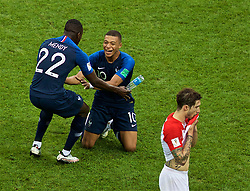 MOSCOW, RUSSIA - Sunday, July 15, 2018: France's Kylian Mbappe celebrates at the final whistle during the FIFA World Cup Russia 2018 Final match between France and Croatia at the Luzhniki Stadium. France won 4-2. (Pic by David Rawcliffe/Propaganda)